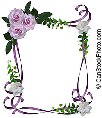 lavande, roses, invitation mariage, frontière