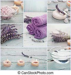 lavande, spa, collage