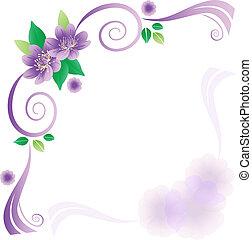 lavander, bloemen, kaart, trouwfeest