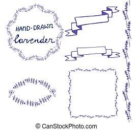 lavander frame hand drawn set