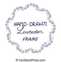 lavander, ram, hand, oavgjord