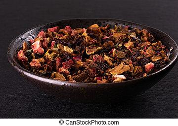 Lavander strawberry tea on grey stone