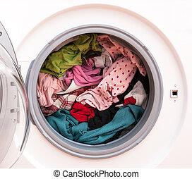 lavanderia, antes de, lavando