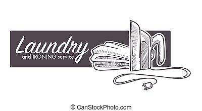 lavanderia, e, ironing, serviço, logotipo, bandeira, esboço,...