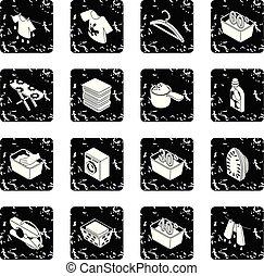 lavanderia, jogo, vetorial, grunge, ícones
