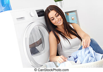 lavanderia, jovem, dona de casa, logo, máquina, retrato, lavando