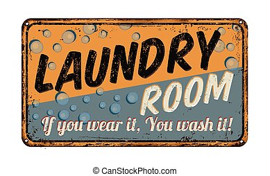 lavanderia, metal enferrujado, sala, sinal