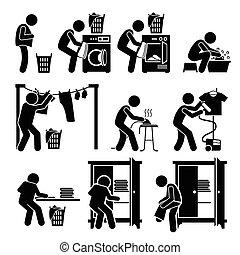 lavanderia, trabalhos, roupa lavagem