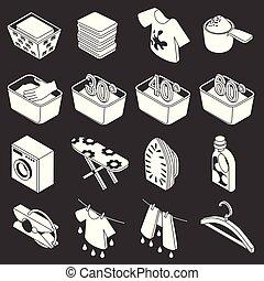 lavanderia, vetorial, jogo, cinzento, ícones