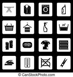 lavanderia, vetorial, jogo, quadrados, ícones