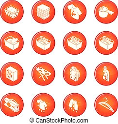 lavanderia, vetorial, jogo, vermelho, ícones
