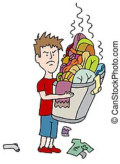 lavanderia, zangado, carregar, transbordante, criança, cesta, sujo
