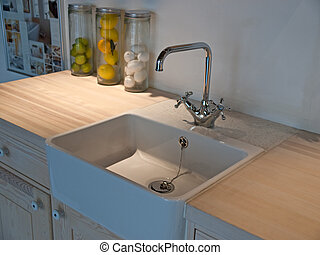 lavandino, classico, rubinetto, dettagli, moderno, cucina, rubinetto