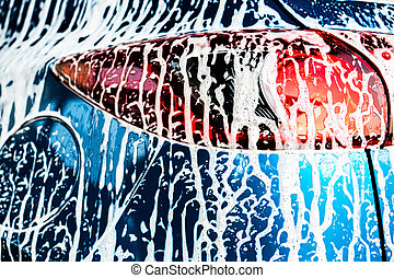 lavando, car, negócio, concept., cuidado, desenho, serviço, costas, compacto, vista, soap., desporto, branca, suv, modernos, coberto, foam., azul