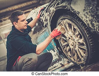 lavando, car, trabalhador, lavagem, liga, rodas, car's,...