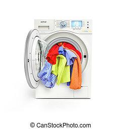 lavando cima, isolado, máquina, fundo, fim, carregado, branca, roupas