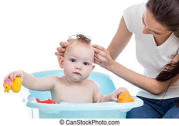 lavando, dela, espuma, mãe, menina bebê, banheira