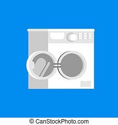 lavando, isolated., ilustração, máquina, vetorial, porta aberto