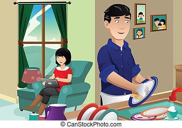 lavando, marido, pratos