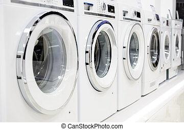 lavando, mashines, em, dispositivo, loja
