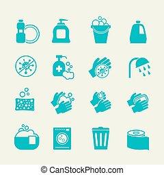 lavando, pessoal, anti-séptico, icons., higiene, vetorial, limpeza, sinais, cautela casa