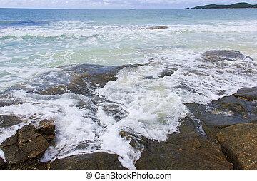 lavando, rocks., ondas