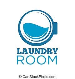 lavando, sala, lavanderia, logotype, ilustração, máquina,...