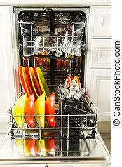 lavapiatti, apparecchio, -, pulito, piatto, pietanza, cucina