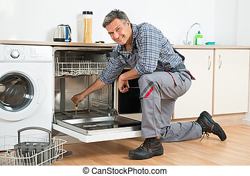 lavapiatti, cacciavite, riparatore, cucina, riparare