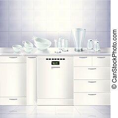 lavaplatos, built-in, arriba, vector, simulado, cocina