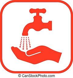 lavare, mano, tuo, segno