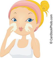lavare, ragazza, applicare, facciale