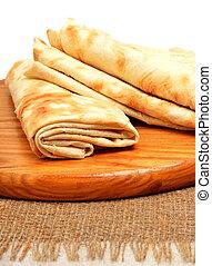 lavash, aislado, tabla de cortar, envolver, tortilla, bread