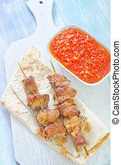 lavash, kebab