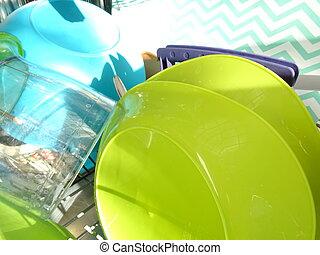 lavatore piatto, pieno, pulito