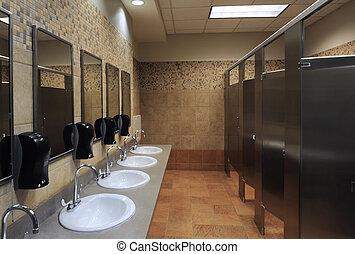 lavatory sinks in a public restroom