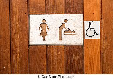 lavatory, tegn, iconerne