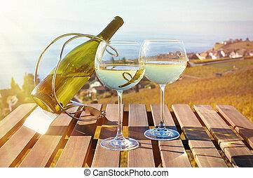 lavaux, genève, contre, lake., suisse, vin