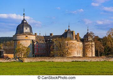 Lavaux Sainte Anne Castle in Belgium - architecture background