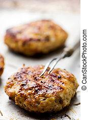 lave hamburger, op, een, bakblad