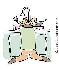 lave-vaisselle, fatigué, homme