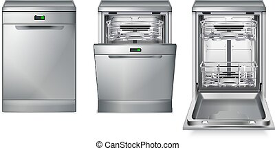 lave-vaisselle, gris, ensemble, machine
