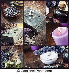 lavendel, dayspa, collage