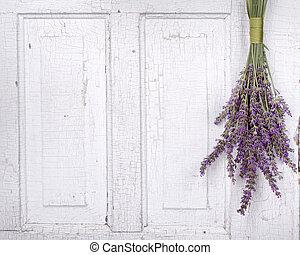 lavendel, hangend, van, een, oud, deur
