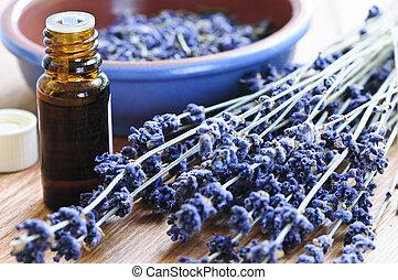 lavendel, kruid, en, essentiële olie