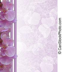 lavendel, orkidéer, gräns, skrivpapper