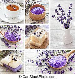 lavendel, spa, collage