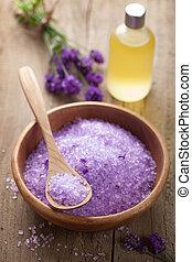 lavendel, zout, en, essentiële olie