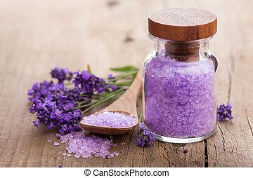 lavendel, zout