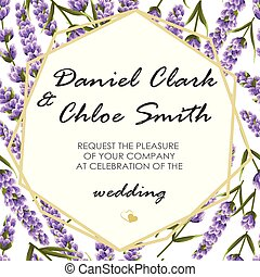 lavender., 結婚式, イラスト, 優雅である, ベクトル, 招待